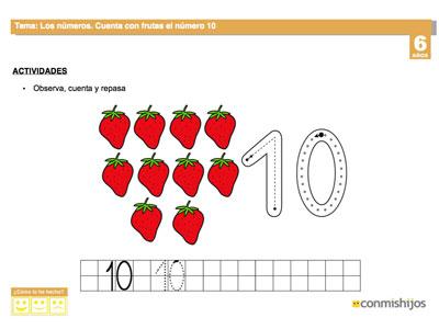 Cuenta las frutas. Ficha para repasar el número 10