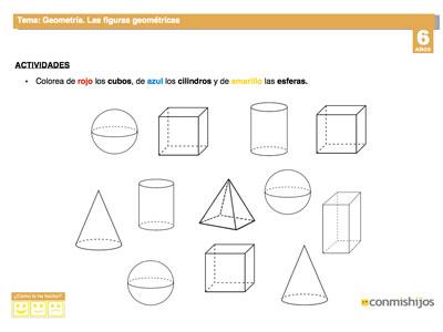 Cuerpos geométricos. Fichas de matemáticas para niños