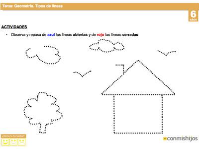 Tipos de lneas Fichas escolares de geometra