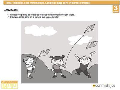 Aprender el concepto largo y corto. Matemáticas para niños