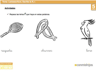 Ficha de lectoescritura para aprender a escribir la letra R