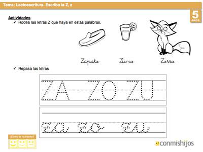 Letra Z. Ficha de lectoescritura para niños