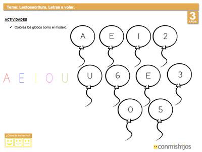 Ficha escolar para diferenciar las letras de los n meros for Aeiou el jardin de clarilu mp3