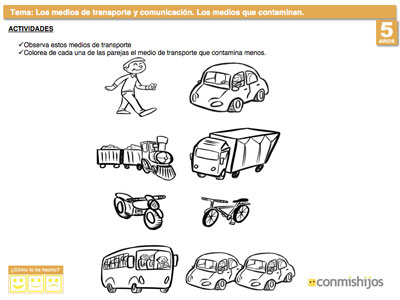 Ejercicio Escolar Sobre Los Medios De Transporte Que Contaminan