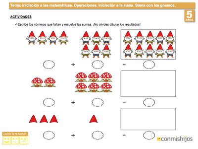 Resuelve estas sumas. Ejercicio de matemáticas para niños