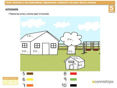 Suma y colorea. Ejercicio de matemáticas para niños