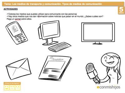 Tipos De Medios De Comunicación Fichas Escolares Para Niños