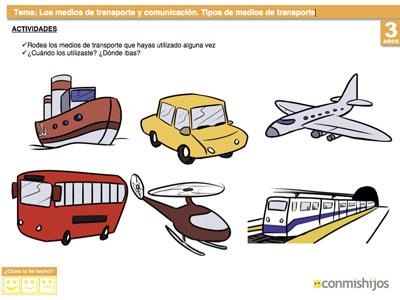 Tipos De Medios De Transporte Ejercicio Para Ninos