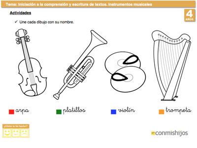 Instrumentos musicales. Ficha para ampliar vocabulario